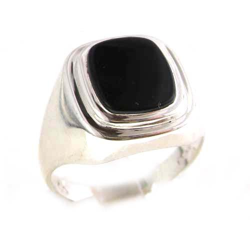 gents solid 925 sterling silver onyx mens signet