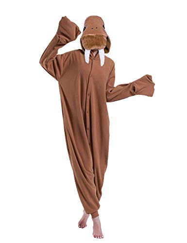 Funny Cartoon Halloween Animal Walrus One Piece Pajamas Costume for Adult Kids Women Men Boys Girls Brown