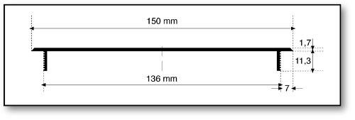 Grille da/ération /à encastrer en aluminium anodis/é Inox 150 x 600 mm