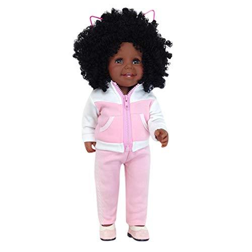 ABASSKY Black Girl Dolls African American Play Dolls Lifelike 45cm Baby Play Dolls PK