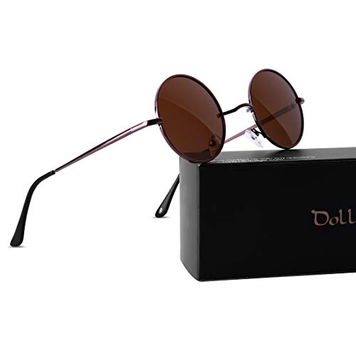 Dollger Retro Round Polarized Sunglasses for Men Women John Lennon Style Vintage Circle Hippie ()