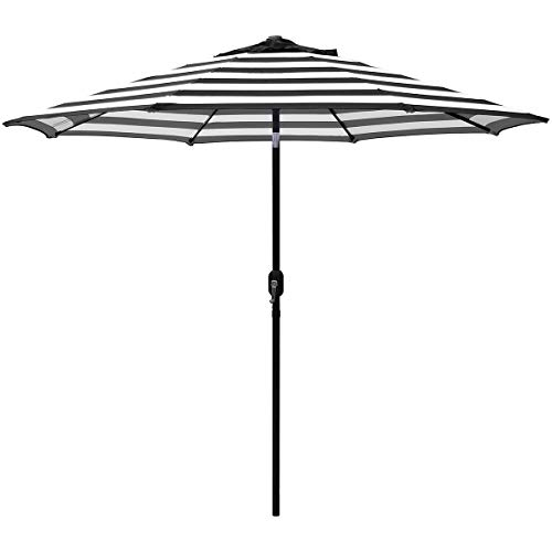 ABBLE Outdoor Patio Umbrella 9 Ft Stripe with Crank and Tilt, Weather Resistant, UV Protective Umbrella, Durable, 8 Sturdy Steel Ribs, Market Outdoor Table Umbrella, White and Black (Umbrella Patio Brown Striped)