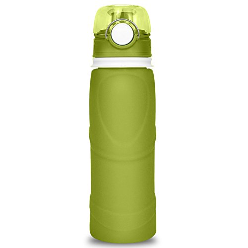 silbyloyoe Collapsible Silicone Water Bottle 26 OZ, one of no Plastic Taste, Non-Leaking, BPA Free,FDA Approved, Collapsible Water Bottle. Travel Water Bottle, Lightweight Water Bottle (Brown Green)