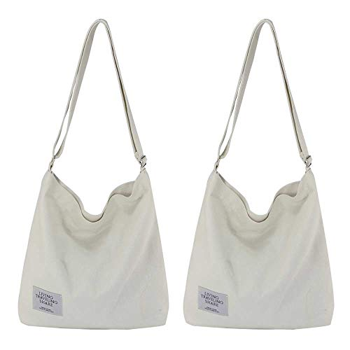 (Womens Canvas Crossbody Hobo Bag Large Tote Messenger Shoulder Purse with Zipper Casual Work Travel Bags (White(2 Pack)))