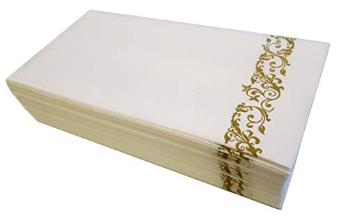 Disposable Stylish Napkins   Linen Feel High Quality Premium Paper Hand Towels for Dinners Parties Weddings Kitchens Events Rest Rooms Bathrooms Hotels   Absorbent & Soft   100 Pack (White & Gold)