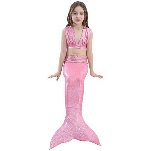 95cd2a496033a Jeferym 4PCs Girls Mermaid Swimsuits for Swimming Bikini Set for Toddler  Teen Girl 3-14