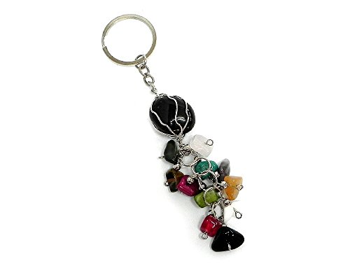 - Wire Wrapped Tumbled Healing Gemstone Multicolored Chip Stone Cluster Dangle Handmade Keychain Silver Keyring Hanging Ornament Pendant Charm Car Bag Accessory (Black Onyx)