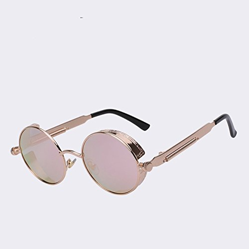 TIANLIANG04 de hombres diseñadores gafas El Steampunk UV400 Gold sol calidad de metálica redonda polarizadas de C3 gafas sol Gafas C5 w de marca alta dorado de Gótico latón de armadura pink w YqYn7ar