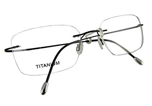 Circleperson Rimless Titanium Eyeglass Frames RX-able Men Hingeless Light Weight 55-18-140 (Lens Width 55 mm, Black)
