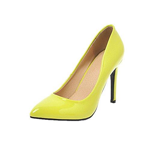 Chiuso toe Weenfashion Giallo Estraibili calzature Tacchi Su Brevetto Pompe Pelle Donne BBRqr