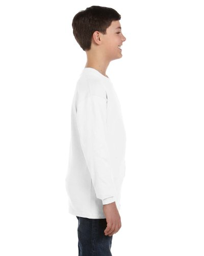 Gildan Heavy Cotton Youth Long-Sleeve T-Shirt, Wht, Large