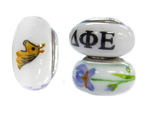 College Jewelry Delta Phi Epsilon Hand Painted Fenton Glass Bead Fits Most European Style Charm Bracelets ()