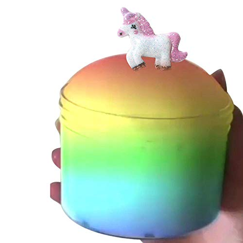 Dorothyworld 2018 Newest Flaky Gum Clouds Mud Mixing Random Unicorn Cloud Slime Glowing Up Bread Scented Stress Fluffy Putty Kids Clay Toy (Container Super Small Design 80ML)