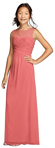 MORE COLORS Long Mesh Dress with Illusion Tank Ruched Bodice Style JB9010, Coral Reef, 18 price tips cheap