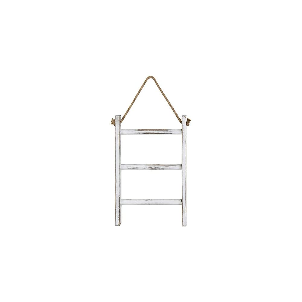Hrsptudorc Wall-Hanging Towel Ladder Rustic Whitewashed Wood Countertop Ladder Farmhouse Decor Towels Rack with…