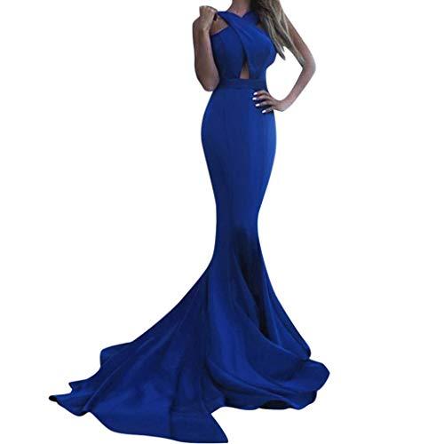 - TANLANG Long Dresses for Women Cross-Neck Slim-Fit Hip Dress High Low Cocktail Dress Sleeveless Halter Hollow Maxi Dress Blue