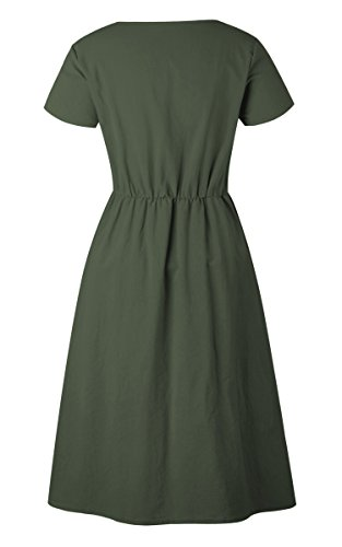 Angashion Women's Dresses-Short Sleeve V Neck Button T Shirt Midi Skater Dress with Pockets by Angashion (Image #5)