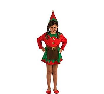 El Rey del Carnaval Disfraz de Elfa Roja y Verde para niña: Amazon ...