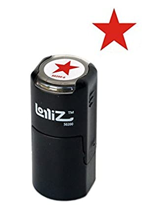 LolliZ Stamp SOLID STAR Round Self-Inking Teacher Stamp with Lid. RED Solid Color, Laser Engraved Rubber, Contoured Design