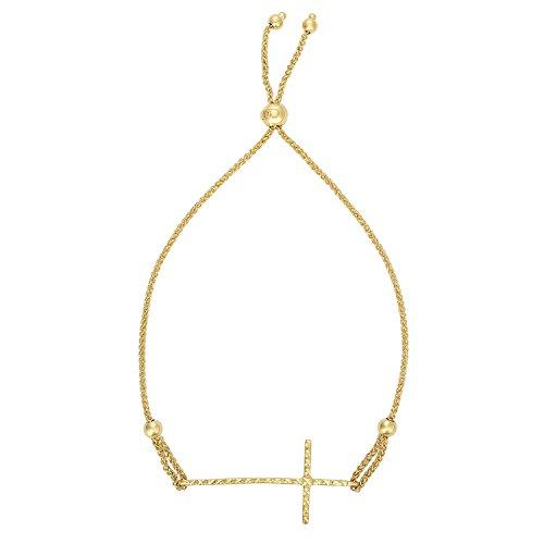 MCS Jewelry 14 Karat Yellow Gold Diamond-Cut Sideways Cross Adjustable Bolo Bracelet (9 1/4) ()