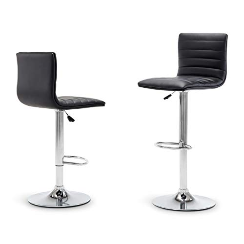 Belleze Set of 2 PU Leather Hydraulic Swivel Gas Lift Height Adjustable Bar Stool, Black