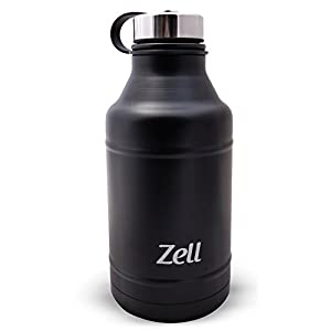Zell 64 oz Vacuum Insulated Water Bottle   Double Walled Stainless Steel Powder Coated Beer Growler Beverage Bottle   No Sweating, Keeps Your Drink Cold & Hot