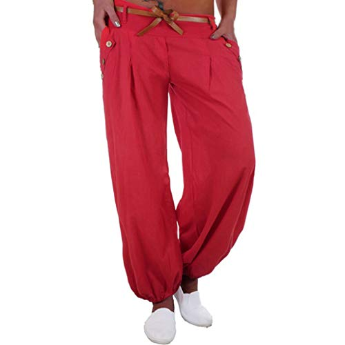 (Sunyastor Harem Pants for Women Plus Size High Waisted Palazzo Pants Wide Leg Stretch Trouser Yoga Pant Belted with Pockets Red)
