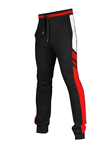 SCREENSHOT SPORTS-P11955 Mens Premium TechFleece Fashion Pants - Athletic Jogger Fitness Workout Gym Sweatpants-BK/RD-2XLarge