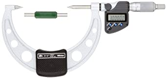 Mitutoyo LCD Point Micrometer, Ratchet Stop, Inch/Metric
