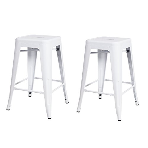 Adeco 2016 NEW Adeco 24-inch Metal Counter Stools Tolix Style Industrial Chic Chair, Glossy White, Set Of 2, white (Chair Fashioned Old Styles)