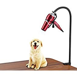 LuckIn Dryer Stand Hands Free, Stainless Steel Heavy Duty Table Blow Dryer Holder 360 Degrees Rotation with Adjustable Clamp, Third Arm for Hair Styling, Pet Grooming