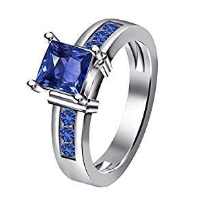AT Jewels 1 CT 14k White Gold Over Princess Cut Blue Sapphire Solitaire with Accents Ring