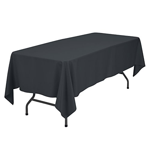 VEEYOO Rectangular Tablecloth 100% Polyester Oblong Table Cloth for Bridal Shower - Solid Soft Oval Table Cover for Wedding Party Restaurant Party Buffet Table (Dark Gray, 60x102 inch) (Slate Blue Tabletop Buffet Bar)