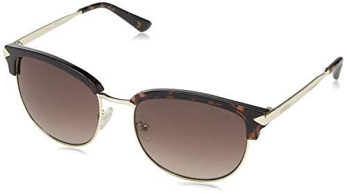 GUESS Women's Gu7482 Wayfarer Sunglasses, dark havana & gradient brown, 55 ()