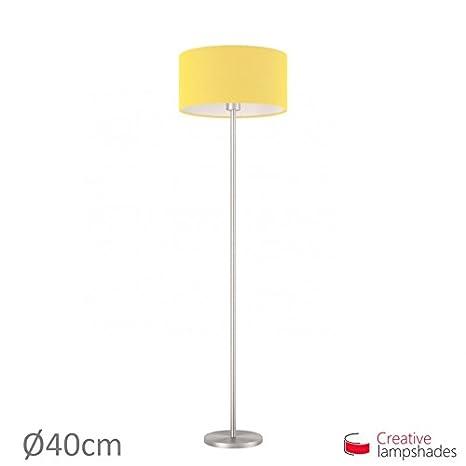 Creative Lampshades Pantalla Cilindro Recubrimiento Tela Amarillo ...