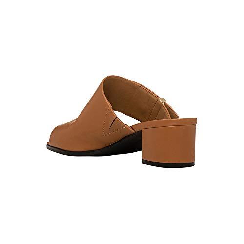 Calvin Klein Womens Daria Leather Split Toe Casual Slide, Cognac, Size 7.5
