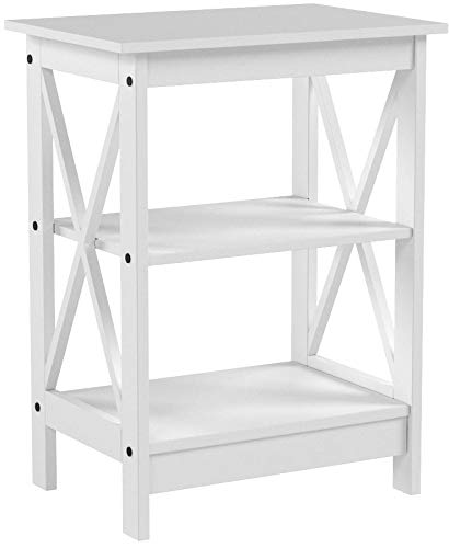 White Finish Wooden X-Design Chair Side End Table with 3-tier Shelf by eHomeProducts
