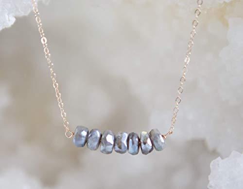 Rainbow Labradorite Pendant - Rainbow Labradorite Bar 14k Rose Gold Necklace - 16