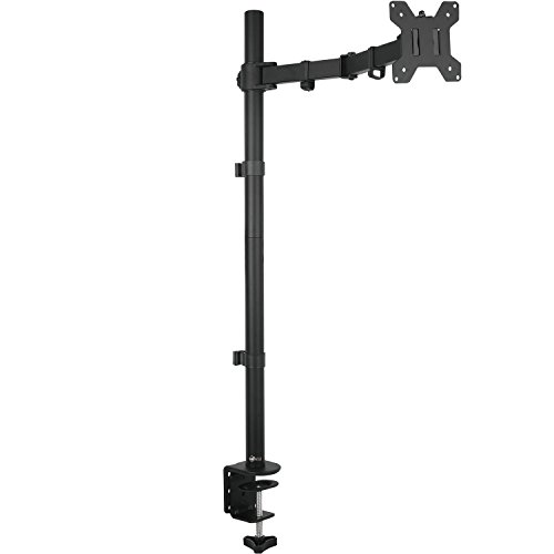 WALI Extra Tall Single LCD Monitor Fully Adjustable Desk Mount Fits 1 Screen up to 27 inch, 22lbs. Weight Capacity (M001XL), Black