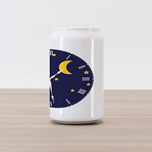 Lunarable Clock Cola Can Shape Piggy Bank, Day Night Illustration with Silhouettes of Sun Crescent Moon Star, Ceramic Cola Shaped Coin Box Money Bank for Cash Saving, Dark Blue Pale Blue Marigold