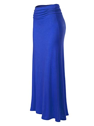 (MixMatchy Women's [Made in USA] Basic Foldable High Waist Regular and Plus Size Maxi Skirts Royal Blue S)