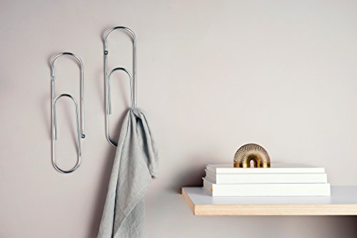 CLIP - DESIGNER GIANT PAPER CLIP WALL HOOK Chrome - Wall Mounted Coat Rack, Perfect for Hats, Magazines, Towels, Jackets, Bags, Tea Towels & Much More. Your Imagination is the Only Limit. (Chrome)