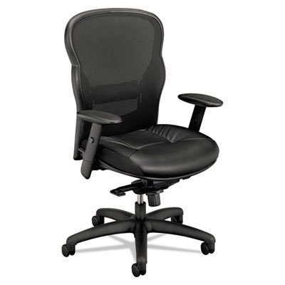 VL701 Series High-Back Swivel/Tilt Work Chair, Black Mesh/Leather, Sold as 1 Each (Series Vl700)