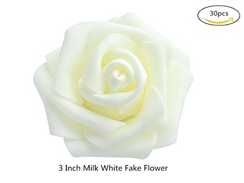 Fake Flower Heads in White 3'' 30pcs Bulk Bridal Shower Decorations, Wedding Favor Centerpieces, Party Decoration, Home Display (Fake Birthday Cakes For Display)