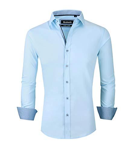 Monlando Mens Bamboo Fiber Long Sleeve Dress Shirts Wrinkle Free Slim Fit Men Casual Button Down Shirt Light Blue