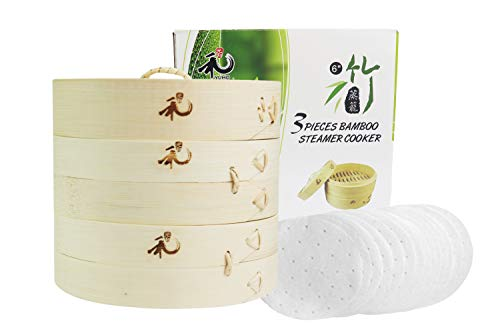 Yuho Asian Kitchen Bamboo Steamer 6-Inch, Individually Box, 2 Tiers & Lid, 10 Parchment Liners, Perfect For Steaming Dumplings, Vegetables, Meat, Fish, Rice, Healthy Lifestyle, 100% Natural Bamboo Bamboo Steamer Basket Set