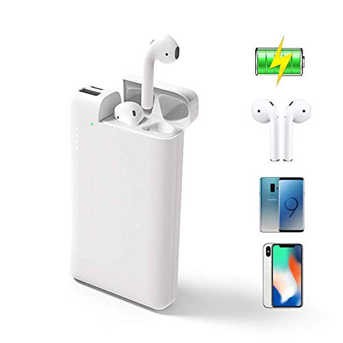 ATETION Power Bank 2 in 1 10000mAh Portable Charger USB Type C External Battery with Charging Case Compatible for AirPods iPhone Samsung Galaxy HTC Phone Tablet, White