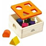 Wonderworld Wood Natural Shape Sorter - Box and Blocks, Six Assorted Shapes