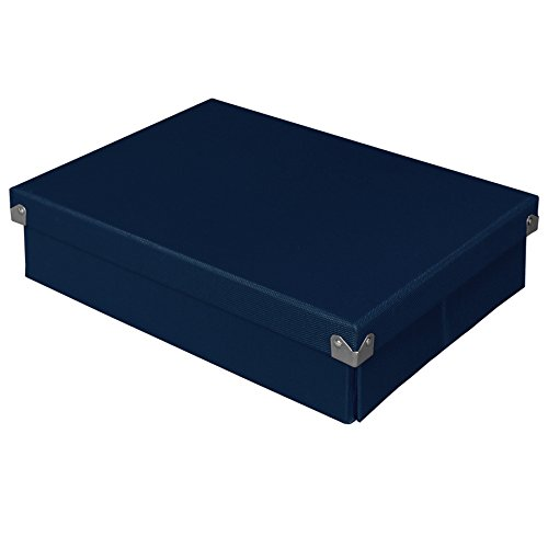 """Pop n' Store Decorative Storage Box with Lid - Collapsible and Stackable- Document Box - Navy Blue -  Interior Size (12""""x8.5""""x3"""")"""