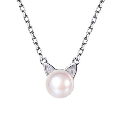 Minimalist Pearl Cat Ear Necklace Collar Charm 925 Sterling Silver Chain Dainty Kitty Pendant Women Girls - Kitty Charm Pendant